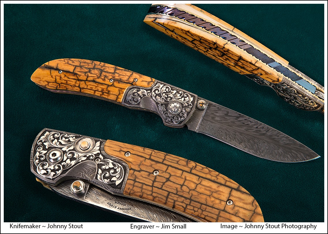 Johnny Stout HHH Feather damascus folder