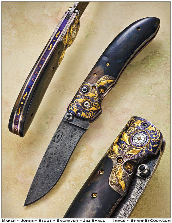 Johnny Stout folder HHH feather damascus