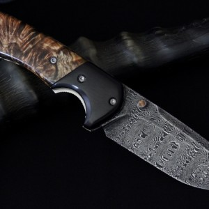 HHH Knives custom damascus folder. Auction.